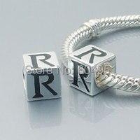 1 pçs/lote europeu 925 prata charme alfabeto R Beads serve Chamilia Biagi pulseira DIY