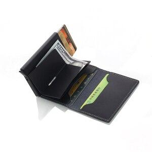 Image 4 - Weduoduo erkekler hakiki deri kartlık RFID Metal kredi kartı tutucu Anti theft erkekler cüzdan otomatik Pop Up kart kılıfı