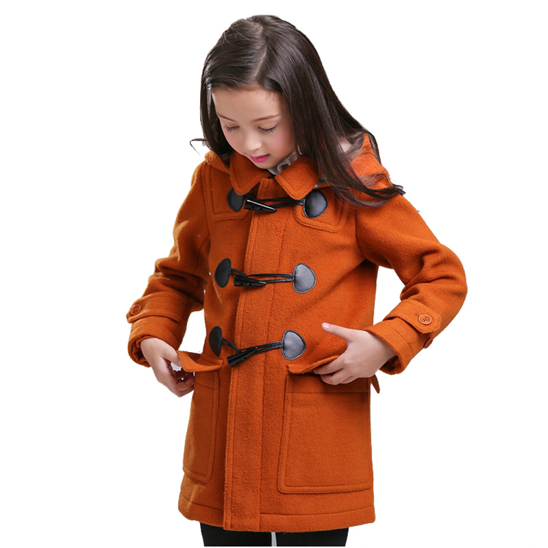 Girls Winter Coat Children Wool Overcoat Kids Classic Long Hooded Single-breasted Warm Clothing High Quality for 6Y-12Y single breasted knot blouse