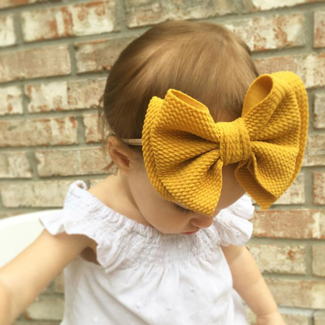 9 Colors Lovely Big Bow Headbands DIY Double deck Bowknot Nylon Hair Bands For Baby Girls Children Head Wraps Hair Accessories 3