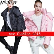 Куртка-пуховик на 90% утином пуху, женская короткая парка с капюшоном, Европейская мода, новое теплое пальто с перьями, женская розовая Свободная куртка, верхняя одежда LX2322