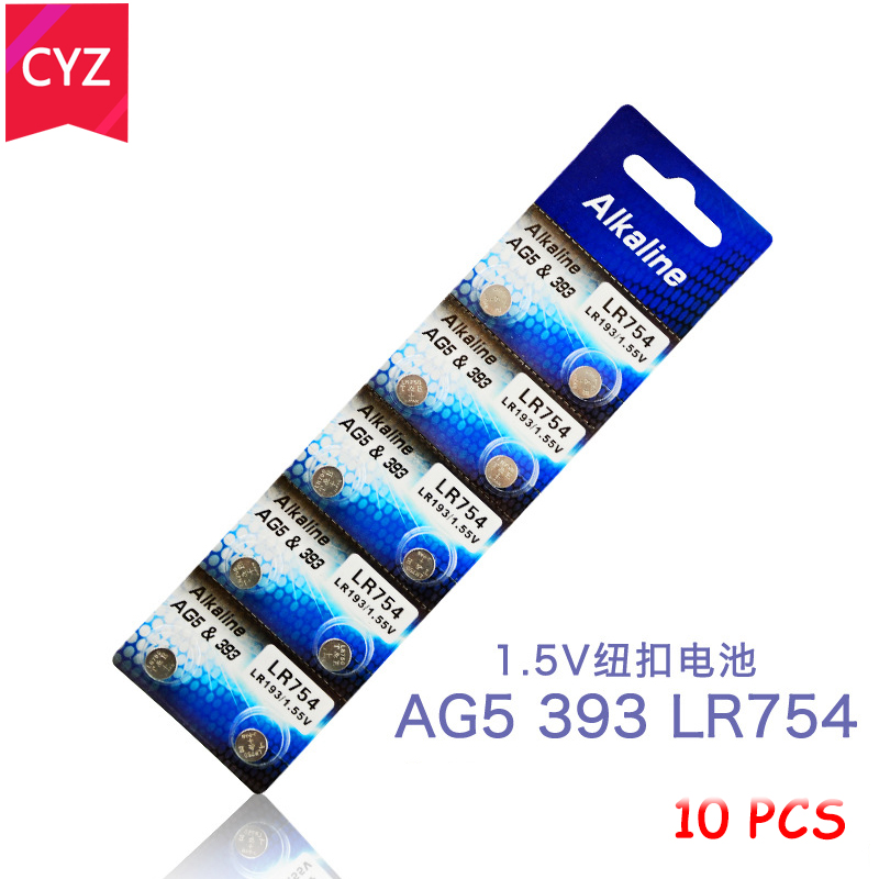 1 Cards 10pcs/lot AG5 LR754 Zn/MnO2 Battery LR48 L750 393 SR754 193 398A Button Coin Cell Batteries Electronic Toys Watches