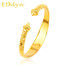 Ethlyn The high quality Dubai men  Gold Color bangles for Ethiopian bangles&bracelets Ethiopian jewelry bangles B16