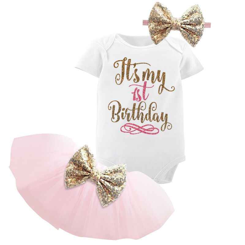 c5ca194f174 1 año bebé niña cumpleaños Vestido de arco de oro rosa 1st 2nd cumpleaños  del bautismo