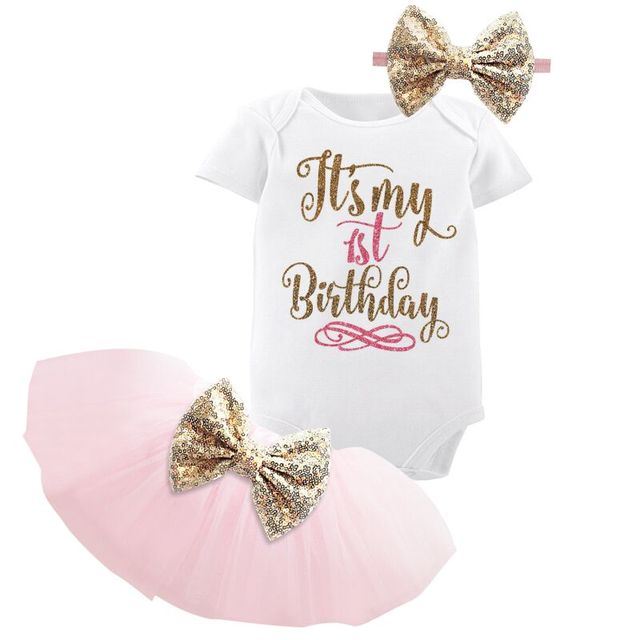 1 Year Baby Girl Birthday Dress Gold Bow Pink 1st 2nd Baptism Birthday Christening Gown Kids Dresses For Girls Vestido Infantil