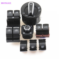 HONGGE 7Pcs Chrome Headlight Switches Folding Rearview Mirror knob Fuel Tank Trunk Button Master Window Switch For Passat B6 3C
