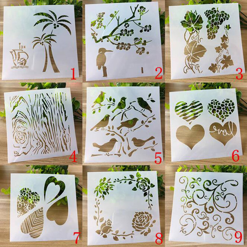 9pc/set Stencil Openwork Painting Template Embossing DIY Craft Bullet Journal Accessories Sjablonen For Scrapbooking Reusable