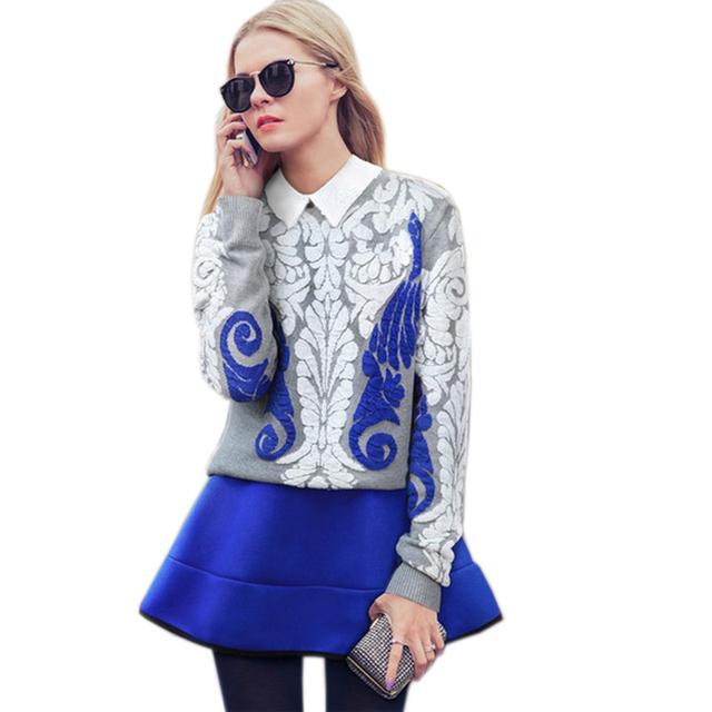 Nueva Moda de Impresión Chándal Para Las Mujeres 2017 del Resorte 2 Unidades Set Estilo de La Calle mujeres de Dos Piezas Más El Tamaño Para Mujer Traje FL331