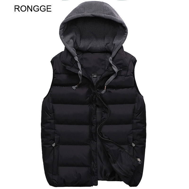 Ronge Brand Mens Vests Hooded Jackets Winter Thick Warm Coat Men's Vests Top Fashion Solid Male Jacke Sleeveless New Arrival Hot winter down top jacke
