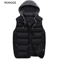 Ronge Brand Mens Vests Hooded Jackets Winter Thick Warm Coat Men's Vests Top Fashion Solid Male Jacke Sleeveless New Arrival Hot