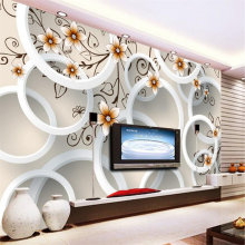 Beibehang 3D Wallpaper Handmade Flowers 3D Circle TV Background Wall Living Room Bedroom Mural photo wallpaper for walls 3 d цена
