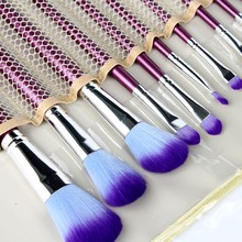 2016 hot Professional 16 Pcs Purple Makeup Brush Set tools Make-up Toiletry Kit Wool Make Up Brush Set Case