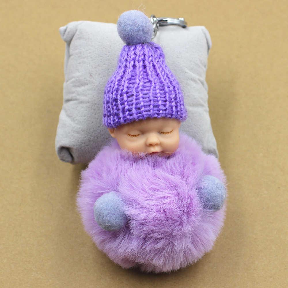 NEW Bonito Bebê Dormindo Boneca Chaveiro Pompom chaveiro Bolsa Charme Resina Titular Chave Chaveiro Pingente Anel