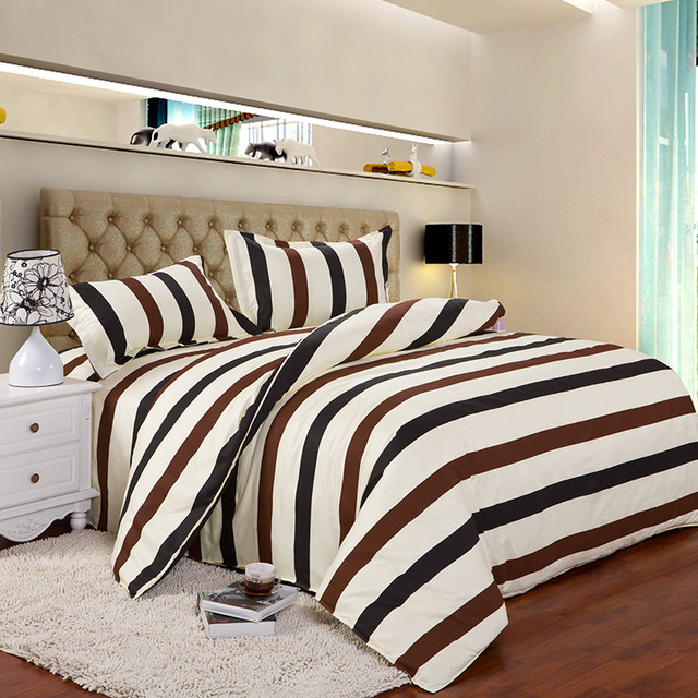 4pcs Twin Full Size Brown White Black Striped Best Bed Sheets Softest Modern Bedding