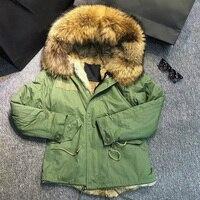 2018 Fashion Woman Army Green Large Raccoon Fur Collar Hooded Coat Parkas Outwear Detachable Rabbit Fur