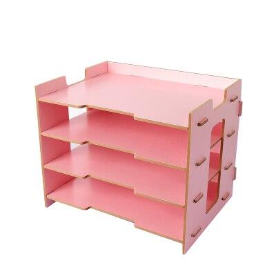 Деревянный держатель для журналов, экологичный держатель для файлов, Настольные принадлежности, органайзер, папка для файлов, стеллажи, коробка для хранения - Цвет: pink