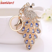 Fashion Peacock Rhinestone Keychain Car Pendant Key Chain women bag Key Ring llaveros Delicate New Arrival