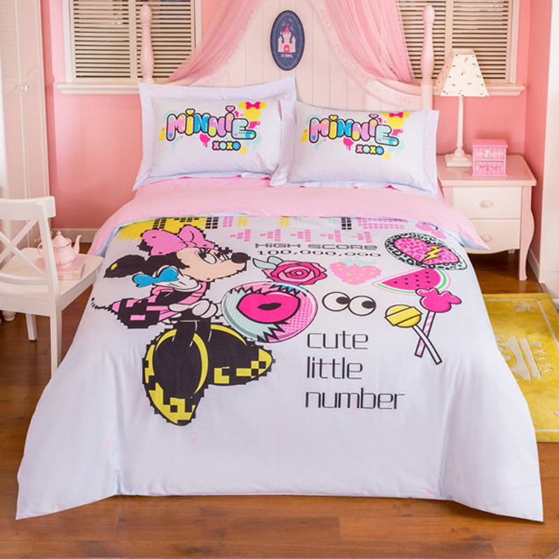 DISNEY Brand Cartoon Minnie Mouse Bedding Set 100 Cotton Cute Little Number Duvet Cover Sheet Set Single Queen Size Beddings in Bedding Sets from Home Garden