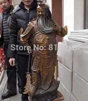 Bi001021 Chiny klasyczny Miedź Brąz słynny trzymać miecz Smok Guan Gong Guan Yu Statua
