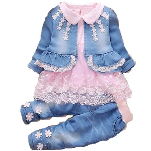 7aa7eed2c Fashion Spring Autumn Infant Baby Girls Denim Clothing Set Lace Long Sleeve T  Shirts + Jeans Jacket+ denim Pant 3pcs Kids Outfit