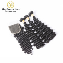 "Mayflower Funmi Hair Beyonce curl 2/3/4 bundles with 4x4"" closure Natural black Double drawn Remy hair 8-18"" mixed Free shipping(China)"