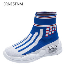 ERNESTNM Stiefel Frauen 2019 Herbst Winter Rote Socke Schuhe Mode Gingham Plattform Turnschuhe High Top Sneakers Botines Mujer 2019(China)