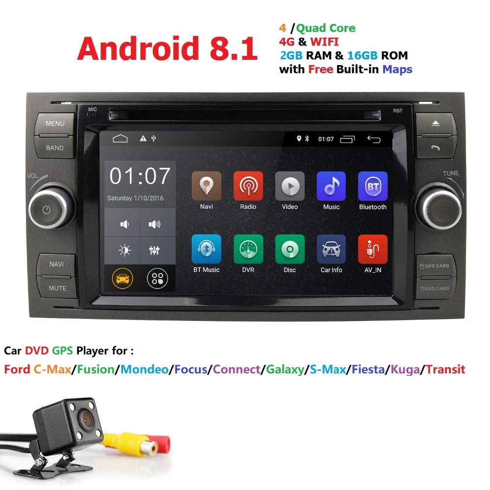 Android 8.1 Nero Nastro Auto DVD Player AutoRadio Audio Per Ford Focus 2 3 Mondeo S CMax Fiesta Galaxy Fusion 2006-2011 GPS Navi