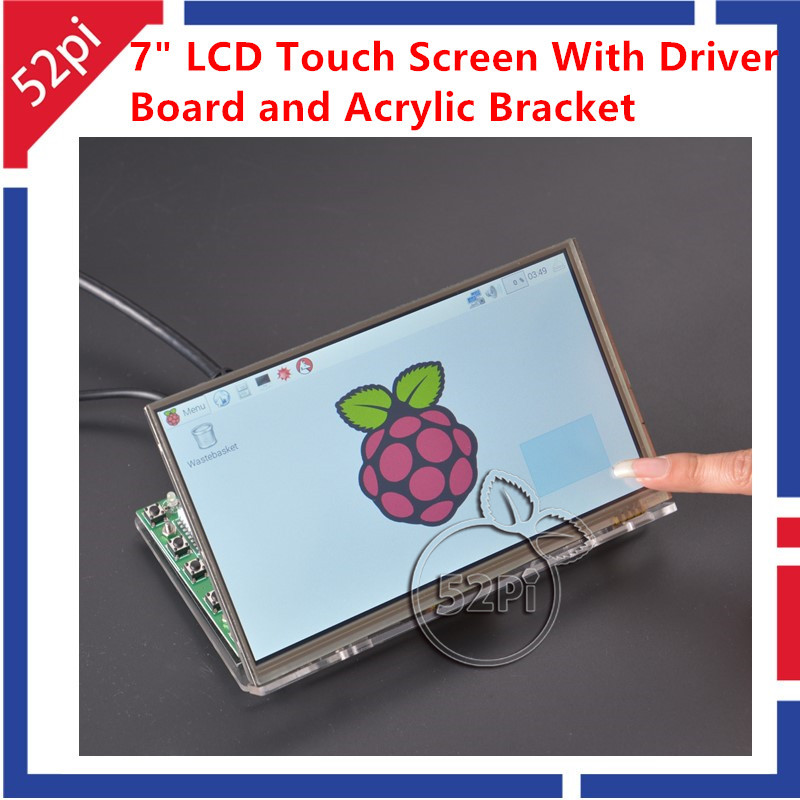 52Pi 7 inch TFT LCD 1024*600 Touch Screen + Driver Board HDMI VGA 2A for Raspberry Pi with Transparent Clear Acrylic Bracket finesource 7 1280 x 800 digital tft lcd screen driver board for banana pi raspberry pi black