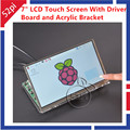 7 Inch TFT LCD Module 1024*600 Touch Screen + Driver Board HDMI VGA 2A for Raspberry Pi and Transparent Clear Acrylic Bracket