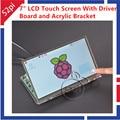 7 Polegada TFT LCD Módulo 1024*600 da Tela de Toque + Placa Driver 2A para Raspberry Pi HDMI VGA e Suporte Acrílico Transparente transparente