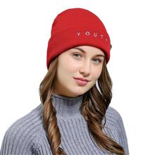 KLV Creative Top Grade Comfortable Stretch Letter Embroidered Men Women Baggy Wool Knit Ski Beanie Hat Comfortable Stretch