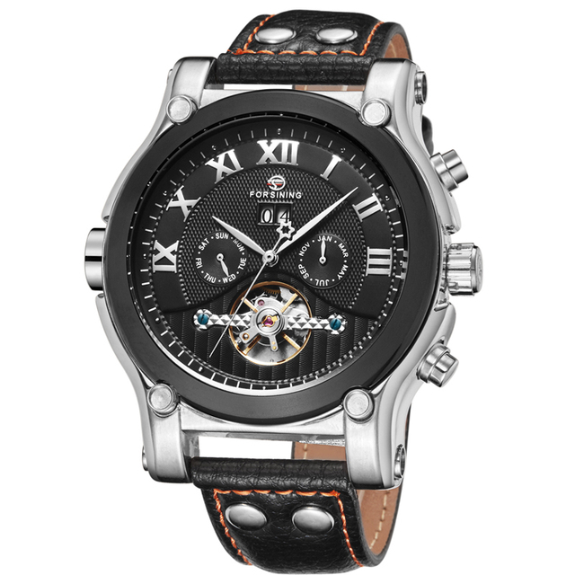 2016 Fashion Mens Mechanical Watches Mens Multifunction Military Automatic Date Calendar Leather Male Mechanical Wristwatches
