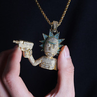 HipHop Jewelry Necklace New Arrival Gun Man Pendant Cubic Zircon Copper Necklace Iced Out Chain Men Gift