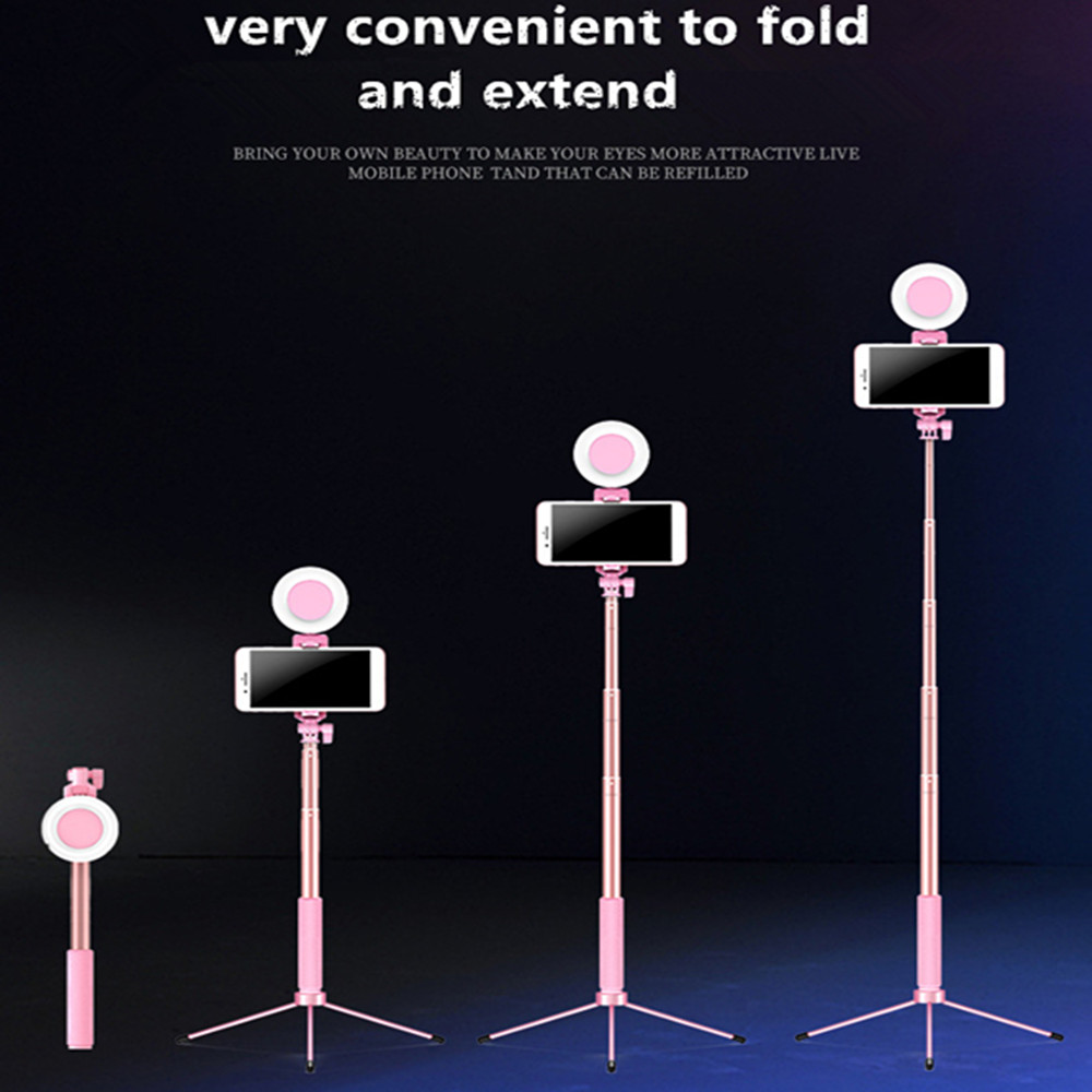 Portable monopod stickers self-timer Bluetooth 1.7M tripod with light ring photo portrait beauty fill light mobile phone X 8 6S 6 plus 7 6S plus,A