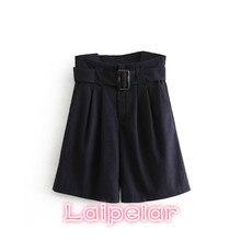 Vintage cotton high waist shorts women bottom Casual belt Summer Short 2018 Streetwear office womens feminino Laipelar