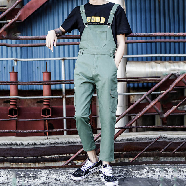 2019 New Summer Men's Tooling Overalls Japanese Conjoined feet Nine points Suspenders Men's Casual pants Size M-XL XXL
