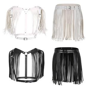 Image 2 - נשים מבוגרים מתכוונן פו עור חגורת פרינג טאסל חצאית חגורת מועדון לילה תלבושות קוספליי מסיבות חצאיות עבור ליל כל הקדושים