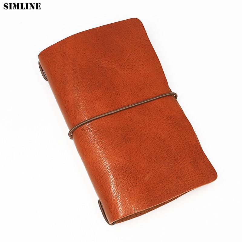 SIMLINE Genuine Leather Men Wallet Clutch Bag Vintage Handmade Long Purse Organizer Travel Wallets Passport Card Holder For Male Кошелёк
