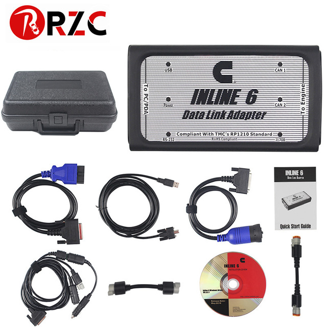 US $138 0 |RZC Free Ship INLINE 6 Data Link Adapter Heavy Duty Diagnostic  Tool Scanner Full 8 cable Truck Diagnostic Interface Inline6-in Car