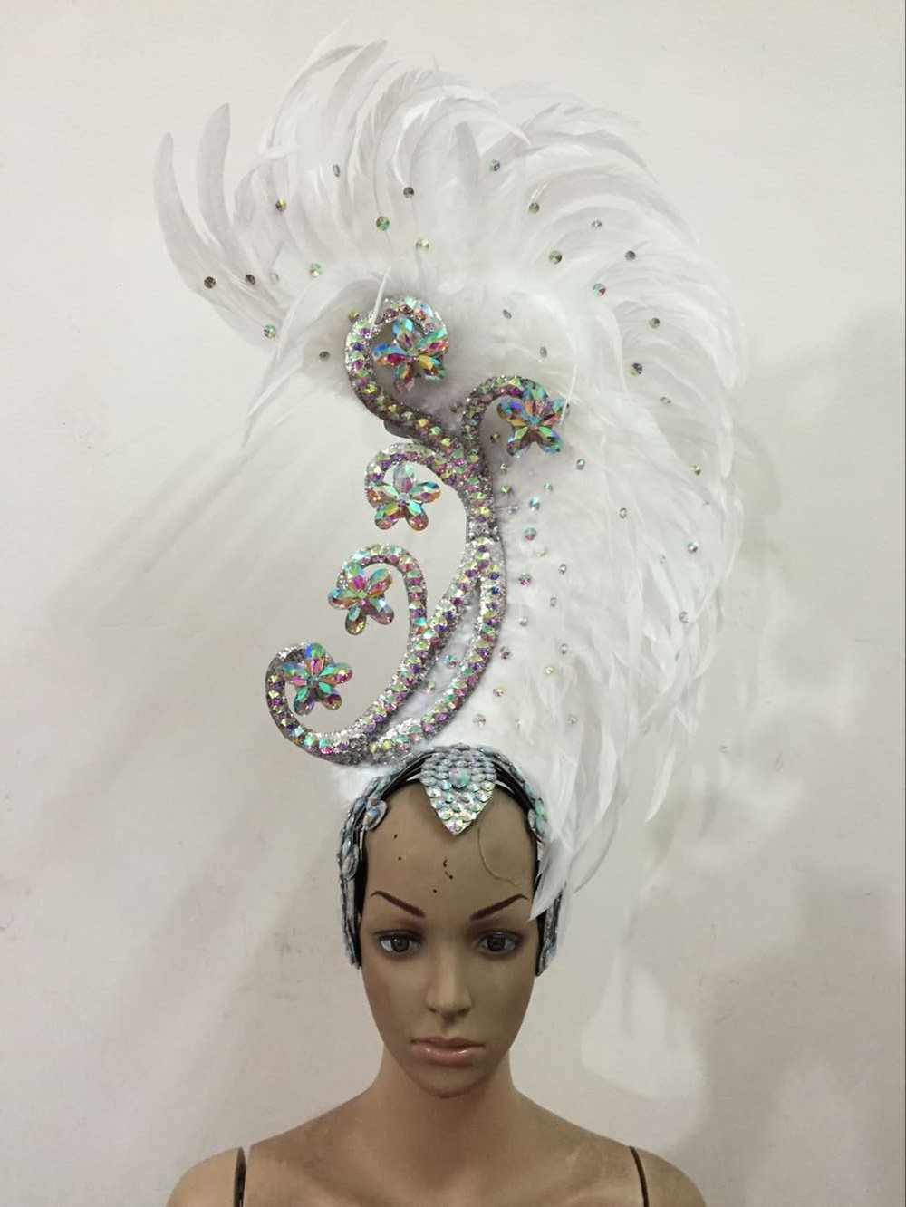 Feather clothing Stage performance catwalk carnival Headdress flower pubs party Men's wear women's clothing-in Women's Hair Accessories from Apparel Accessories
