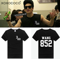 Nueva llegada kpop got7 jackson misma jackson 852 fans de apoyo negro camiseta de manga corta t-shirt ropa casual de verano