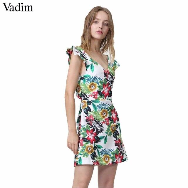 47a20539eaba Vadim women sexy V neck floral pattern dress sleeveless back cut out ladies  summer casual chic mini dresses vestidos QA087