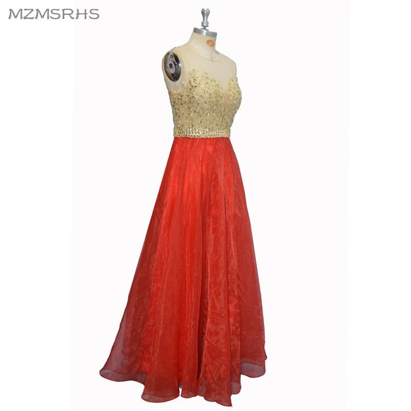 Sexy See Through Back Lace Prom Dresses Long 2017 Red Organza - Vestidos para ocasiones especiales - foto 3