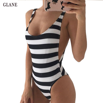 Striped Open Back One Piece Swimsuit with V-Neck 1