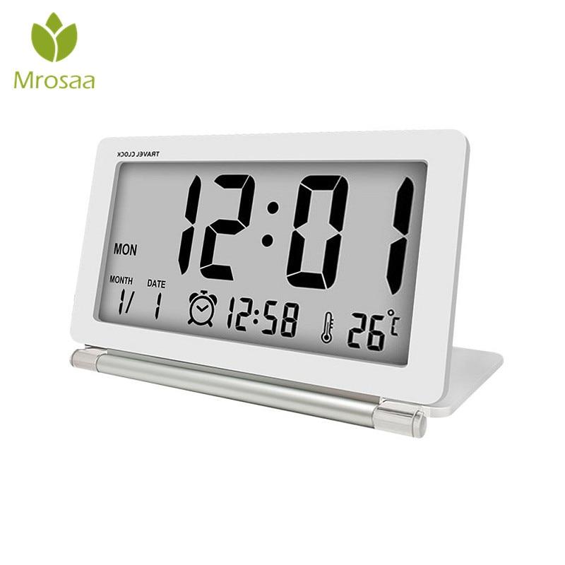 Электронный будильник путешествия часы многофункциональные Silent ЖК-дисплей цифровой большой Экран складной стол с часами с Температура вре...