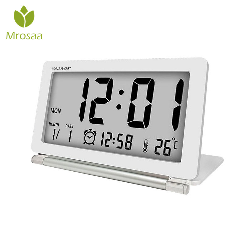 Electronic Alarm Clock Travel Clock Multifunction Silent LCD Digital Large Screen Folding Desk Clock With Temperature Date Time