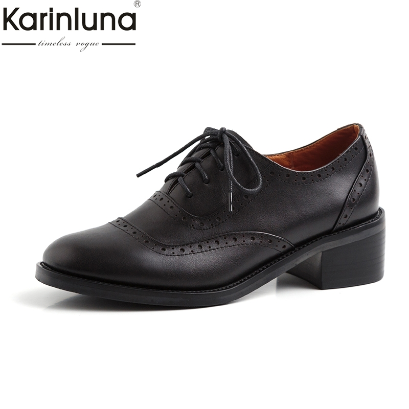 KarinLuna Genuine Leather lace-up Plus Size 43 Classics Fashion womens Pumps 2019 Brand New Chic Style Mature womens ShoesKarinLuna Genuine Leather lace-up Plus Size 43 Classics Fashion womens Pumps 2019 Brand New Chic Style Mature womens Shoes