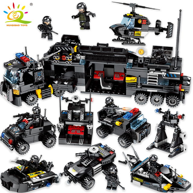 HUIQIBAO Toys 695PCS 8in1 Military command Truck SWAT Soldiers Building Blocks For Children Compatible Legoingly Police Bricks