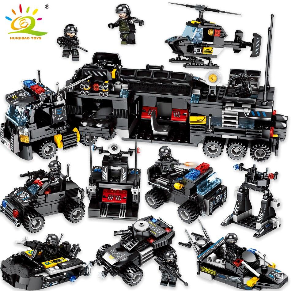 brinquedos 695 pcs 8in1 huiqibao comando militar caminhao legorreta tijolos policia swat soldados blocos de construcao