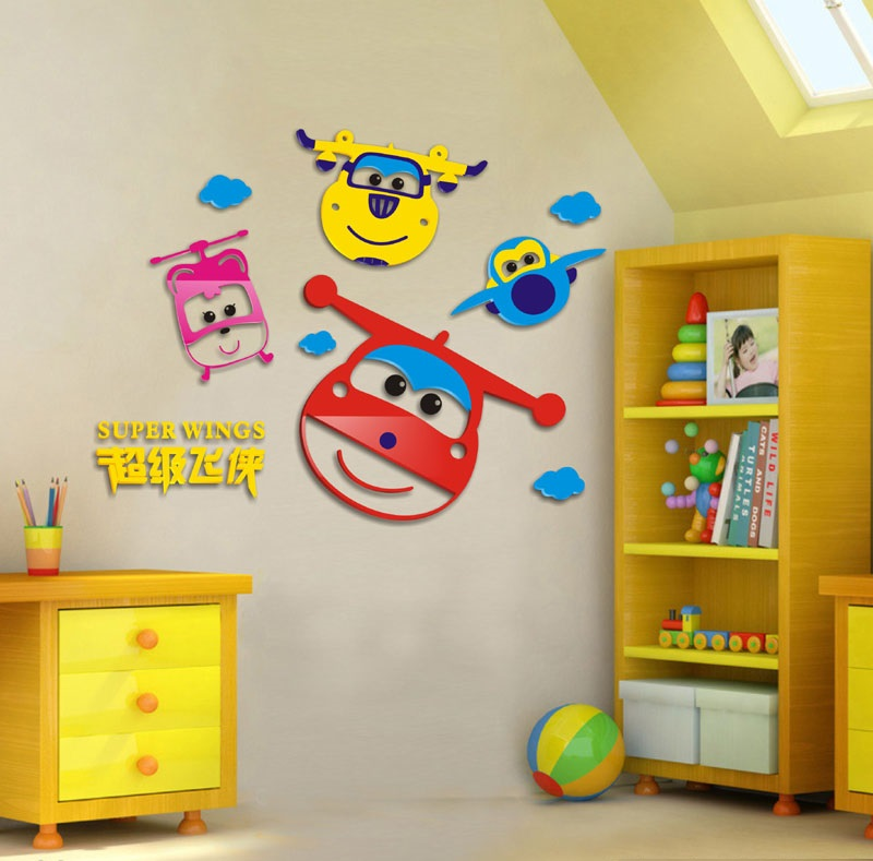 3d Cartoon Super Wings Acrylic Decals Adhesive Wall Stickers Mural